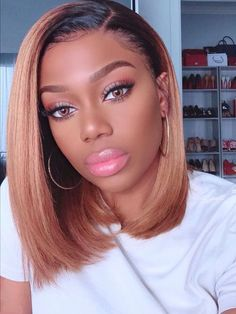 Cute bob hairstyles wigs for black women lace front wigs human hair wigs african american wigs Straight Brunette Hair, Honey Blonde Hair, Straight Bangs, Frontal Hairstyles, Bob Hairstyles, Bob Haircuts, Short Black Hairstyles, Straight Hairstyles, Cheap Human Hair Wigs