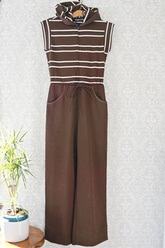 Vintage 1970s Brown Stripe + Polyester Jumpsuit