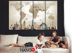 World Map Canvas Beige World Map Wall Decor LARGE World Map World Map Wall Decor, World Map Canvas, Canvas Art, Canvas Prints, Celebrity Weddings, Cotton Canvas, Beige, Living Room, Wall Art
