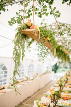 Hanging floral, Rustic Colorado Mountain Wedding #Celebrations www.theeventpro.com ryan price photography