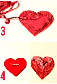 Loving this adorable sequin heart pin, and it's a totally doable DIY.