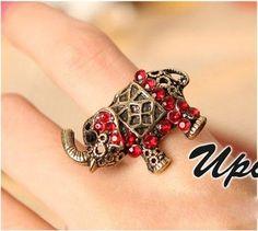 Vintage red rhinestone elephant ring