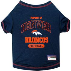 """""""Mile High Denver!""""...TOUCH DOWN! Official Denver BRONCOS dog T-Shirt in color blue sizes XS-L (See Size Charts Below for Each Item) Licensed NFL Fan GameWear for your Furry Quarterback! Choose all of"""