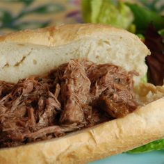 Slow Cooker Italian Beef Sandwich Recipe -- Rump roast is cooked with Italian salad dressing mix and seasonings until it is tender enough to shred with a fork. Slow Cooker Italian Beef, Crock Pot Slow Cooker, Crock Pot Cooking, Slow Cooker Recipes, Crockpot Recipes, Cooking Recipes, Italian Roast, Hamburger Recipes, Cooking Time