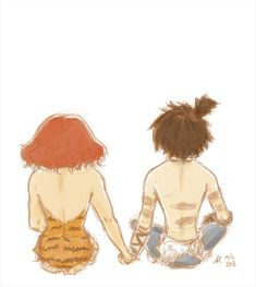 The Croods - Eep and Guy holding hands by anla