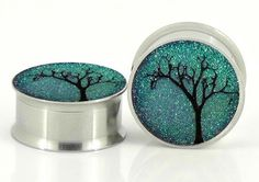 Starry Night Sparkle Plugs Embedded Resin Filled - Made to Order sizes - 5/8,11/16,3/4, 7/8