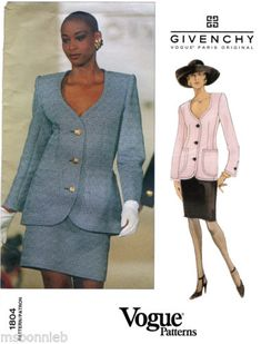 dbf9196aa6b Details about Vogue 1804 Givenchy Paris Original Jacket   Skirt 6-8-10  Uncut Sewing Pattern