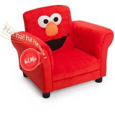 Sesame Street Elmo Upholstered Chair. This one cracks him up