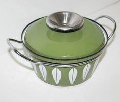 Vintage Covered Casserole Dish Pan Catherine Holm Enamel Olive Green