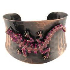Pink Rhinestone Alligator Copper Cuff Bracelet