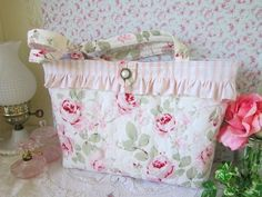 Rosalie Pink Roses Quilted Tote Bag
