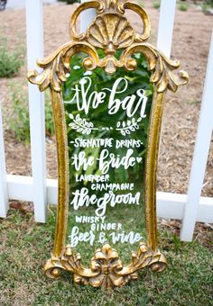 Items similar to Wedding mirror menu / handlettered mirror / dessert menu / wedding sign / gold mirror / chalkboard sign / vintage mirror / gold ornate on Etsy Wedding Trends, Trendy Wedding, Diy Wedding, Dream Wedding, Wedding Day, Handmade Wedding, Wedding Photos, Wedding Videos, Blue Wedding