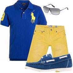 Outfit ideale per tipetti sempre alla moda, look adattabile sia al giorno che alla sera, pantalone accattivante giallo, polo blu e mocassino.