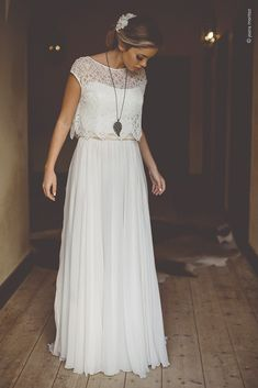 Joana Montez 2016 Wedding Dress - Hochzeitskleid - Wedding World Wedding Dress Chiffon, 2016 Wedding Dresses, Bridal Dresses, Maxi Dresses, Wedding Gowns, Lace Wedding, Vintage Boho Wedding Dress, Dresses 2016, Modest Wedding