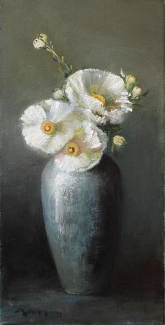 """California Tree Poppies"" Oil on Canvas 24"" x 12"" M. Kathryn Massey"