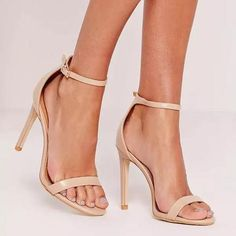 The barely there heel is a solid shoe-drobe staple of every missguided girl and the foundation to any slammin' outfit. Make sure your feet are on fleek in these metallic silver heels. Simple yet effective, these red carpet ready heels will . Nude Sandals, Nude Shoes, Nude Pumps, Stiletto Heels, Nude High Heels, Metallic Shoes, Sandal Heels, Shoes Sandals, Ankle Strap Heels