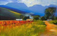 Artwork of Derric van Rensburg exhibited at Crouse Art Gallery. Original art of more than 60 top South African Artists - Since South African Artists, Worcester, Bold Colors, New Art, Ideas Para, Countryside, Perspective, Original Art, Landscapes