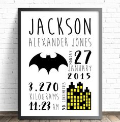 Batman Nursery Print. Bedroom Decor Wall Art Print  PERSONALISED Birth Announcement Nursery Print. Bedroom Decor Wall Art Print.    HOW TO ORDER- Simply leave a note at checkout of the following details- *NAMES *BIRTH DATE & DAY *BIRTH WEIGHT *BIRTH LENGTH *TIME OF BIRTH  ******* A proof copy will be emailed to your email address for you to approve before before printing.********    PRINT DETAILS- Available in two standard sizes for easy framing.  A4 (21x29.7cm) prints are printed on 250 ...