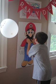 Pin the Mustache on Mario game at a Super Mario Bros Party #supermario #party