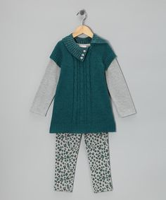 Take a look at this Teal Cheetah Sweater Dress Set - Infant & Toddler by Little Lass on #zulily today!
