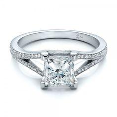 Custom Princess Cut Diamond and Split Shank Engagement Ring