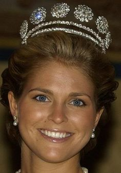 Princess Madeline wearing the Six Button Tiara. It it made using 6 of the 10 diamond buttons from King Charles XIV Jean of Sweden's French ceremonial uniform