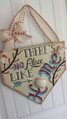 Theres nothing more fun in the Summer than watching your favorite ball player enjoying the game....and nothing funnier and more iconic than the sayings that go along with Americas favorite past time! So, I decided to put my own spin on some of those great sayings and created some cute wall/door hangings for a special place in your home!! Made to order....each sign is handpainted by me, and has a real baseball affixed to the sign!! If youd like a softball instead of baseball....no problem…