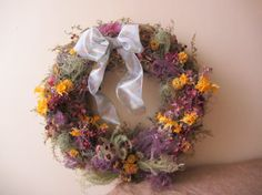 Natural Dried or Fresh Flower Wreath by HappyValleyHerbs on Etsy, $40.00