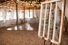 Old window as a seating chart! // photo by http://tnesmithphoto.com