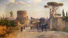 Pio Joris (Rome 1843 - 1921)    'Popolani on the Via Appia Antica' with the Mausoleum of Cecilia Metella.