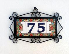 Ceramic tile mosaic for 2-digit house numbers