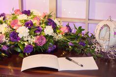 #ceremonyflowers#weddingflowers#guestbook#purplewedding#bradfordgreenhouses