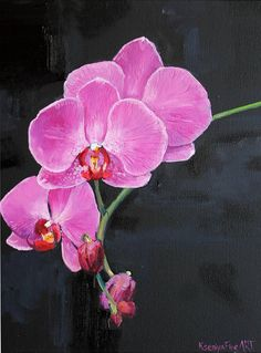 Pink black Orchid oil painting Original flower painting Pink #stilllife #oilpainting #originalpainting #floralpainting #pink #black #orchid #orchidoilpainting #flower #painting #Giftforhome #pinkorchid #pinkorchidpainting #WallArtGift #originalgift