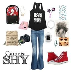 """photo shoot"" by creepy-ladybug ❤ liked on Polyvore featuring H&M, Disney, Eos, Forever 21, Caroll, Pebble, Corinne McCormack and Converse"
