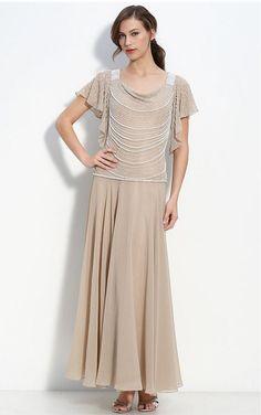 Champagne Sheath Floor-length Scoop Dress