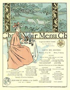 c.1899  Menu Le Chat Noir by George Auriol
