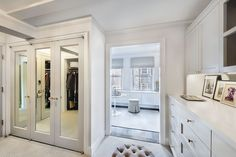 Inside a Chanel Fashion Executive's High-Glam Sutton Place Home Mirror Backsplash, Sutton Place, Upper Cabinets, Dream Closets, Parisian Chic, Town And Country, Chanel Fashion, Window Wall, Guest Suite