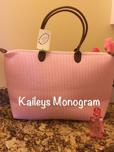 Monogrammed Pink Seersucker Tote Bag Purse Personalized Baby Shower Bride Wedding Bridesmaid Preppy Kaileys Monogram by KaileysMonogramShop on Etsy