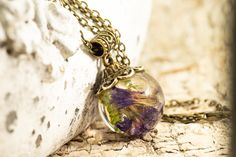 Bronze, Kugel, Pendant Necklace, Etsy, Jewelry, Real Flowers, Crystals, Neck Chain, Colors