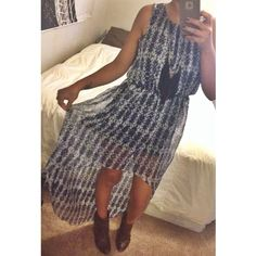 Tribal High Low Dress Blue and white tribal printed semi sheer hi low maxi dress with high conservative neckline. Top is fully lined, skirt is lined and sheer at the bottom. Perfect for a graduation, wedding or any other formal event! Worn once. Forever 21 Dresses High Low