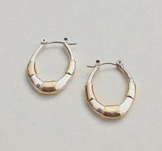 Vintage Tapered Hoop Thin Mixed Metal Gold Silver Tone Modern Minimalist Goldtone Silvertone Pierced Oval Earrings by ThePaisleyUnicorn on Etsy