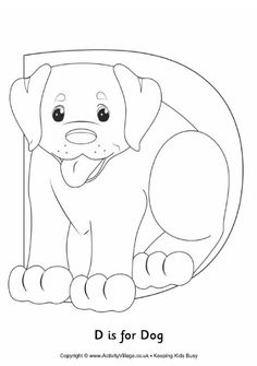 D is for dog colouring page