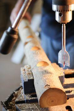 DIY Log Tea Light Candle Holder - The Wood Grain Cottage