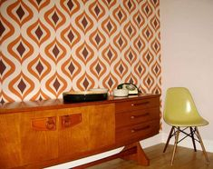 Wallpaper Triton (Light ivory, Brown, Orange) | Wallpaper from the 70s