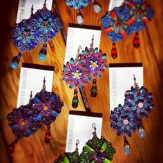 Fresh batch of earrings :) #earringsunique #earringsoftheday #Humboldt #artist #original #summer #fun #glitter #sparkle #alphonsemucha #inspiration #floral #drops #accessories