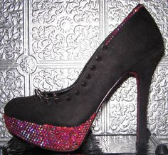 black stiletto heels with metal spikes glitter and by STEAMHATTER, $85.00 || | || the base shoe is a new pair of size 7 1/2 (womens US) black suede platform stiletto. Ultrafine wine glitter has been adhered to the back of the sole. Siam AB rhinestones have been individually placed over the platforms and around the shoe opening. Each shoe has short metal spike studs attached with flatback screws.