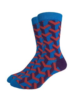 Blue & Red Geometric | Good Luck Sock | goodlucksock.com #socks