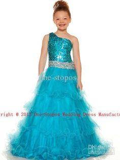 2013 Hot Pink & Blue Little Girl's Pageant Dresses One Shoulder Sequin Tulle Flowers gril dress $89.00