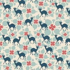 Flower and deer fabric by kathyjuriss on Spoonflower - custom fabric
