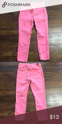 Pink Hi-Rise Jeggings crop Great condition These are super super stretch jeggings American Eagle Outfitters Jeans Parachute Pants, American Eagle Outfitters Jeans, Jeggings